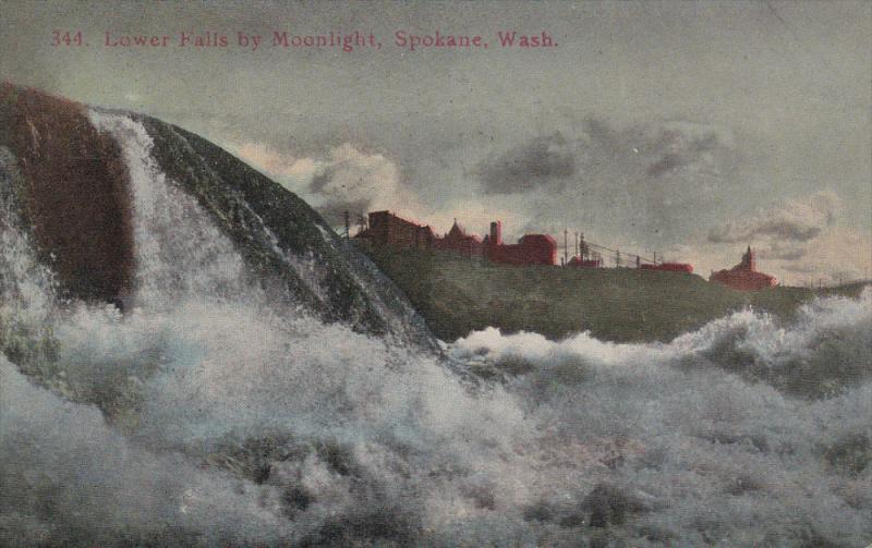 Lower Falls By Moonlight, SPOKANE, Washington, 1900-1910s