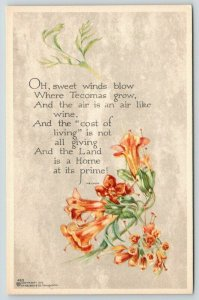 PF Volland~Land is Home at Its Prime~Tecomas Orange Flowers~Poem~Parchment~1913