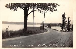 Croton Michigan~View Across Lake from Unpaved Street~Vintage RPPC-Postcard