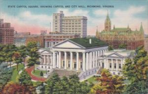 Virginia Richmond State Capitol Square Showing Capitol Building and City Hall...