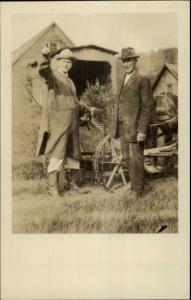 President Calvin Coolidge & Father John c1920s Real Photo Postcard