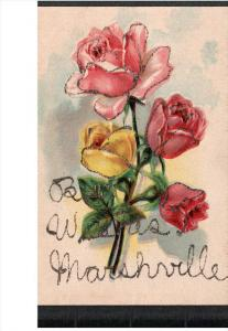 Pink and Yellow Roses, Best Wishes, Marshville, Glitter detail,  00-10s