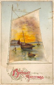 Silk Embroidered Post Card Birthday Greetings - Sailboat Writing on Back