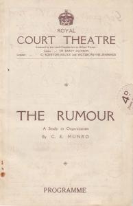 The Rumour Gerard Clifton Freda Gaye CK MUNRO Royal Court Theatre Programme