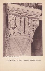 France Chauvigny Chapiteau de l'Eglise Saint Pierre