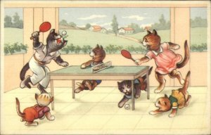 Fantasy Dressed Cats Play Ping Pong Table Tennis c1940s-50s Postcard