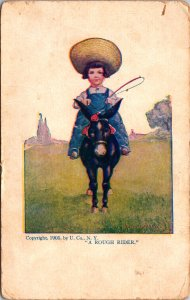 Kid on Donkey a 'Rough Rider' Postcard used 1905