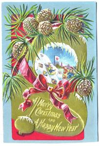 Embossed A Merry Christmas and Happy New Year  Postcard