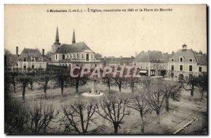Richelieu - L & # 39Eglise built in 1681 and Place du Marche - - Old Postcard