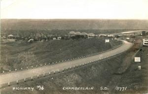 Chamberlain South Dakota 1940s Highway #16 RPPC real photo postcard 1569 Cook