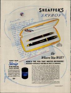 1941 Sheaffer's Skyboy Lifetime Pen Vintage Print Ad 3741