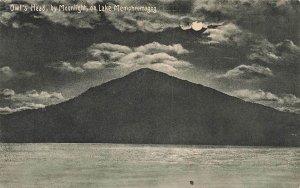 Owls Head By Moonlight On Lake Memphremagog VT Night 1928 Vintage Postcard