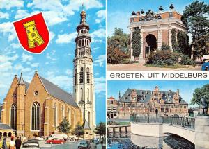 Netherlands Groeten uit Middelburg, Arch Bridge Town Hall Church Eglise Voitures