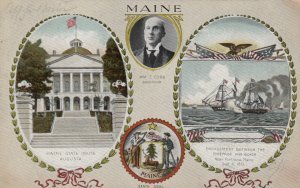 AUGUSTA, Maine, 1906; State Seal, State House, Governor Cobb, & Ship Engangement