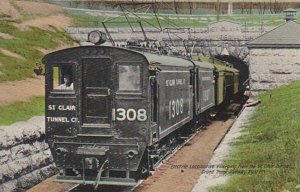 Electric Locomotive #1308 Emerging From The St. Clair Tunnel, 1900-10s, MICHIGAN