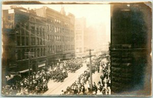 1910s RPPC Real Photo Postcard Street Scene Marked Firemen's Parade Seattle