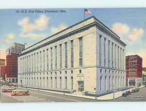 Unused Linen POST OFFICE SCENE Cincinnati Ohio OH hs1124-12