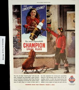 1945 Champion Spark Plugs Dog Sled Girl Vintage Print Ad 4279