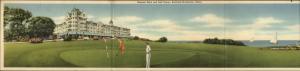 Rockland ME Samoset Hotel & Golf - Tri-Fold c1940s Linen Postcard
