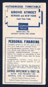 LACKAWANNA Railroad Timetable Newark NJ to Grove St NY c1952