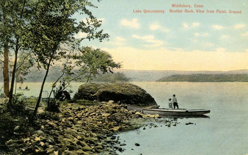 CT - Middlebury. Lake Quassapaug Boulder Rock