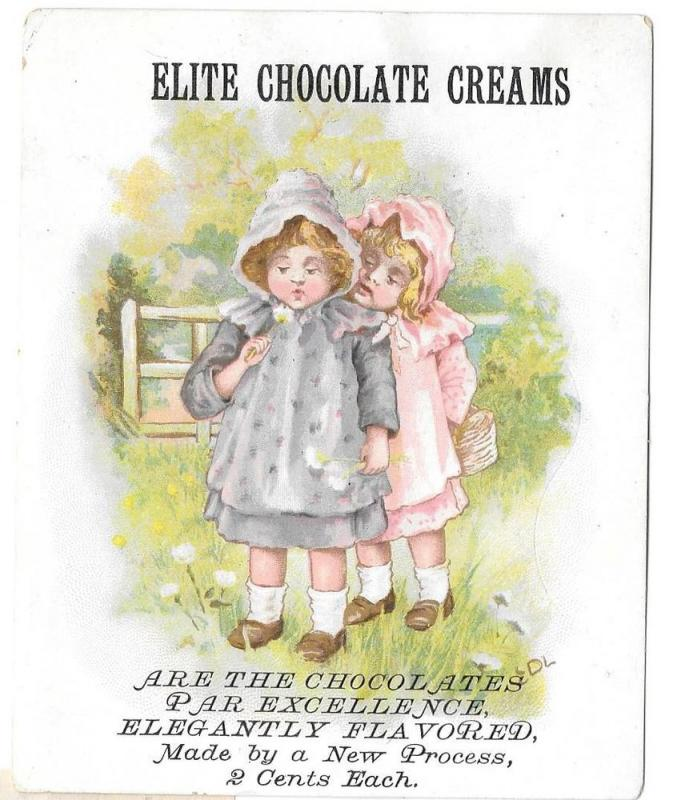 Victorian Trade Card Elite Chocolate Creams Little Girls