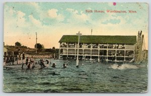 Worthington Minnesota~Bath House~Lots of Bathers~Kids on Dock~1911 Postcard