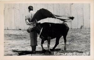 Juan Real Photo Postcard Of Bullfighter Edmundo Elorduy Mexico