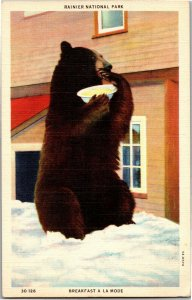 Rainier National Park, Bear Eating from a Bowl Breakfast Vintage Postcard S15