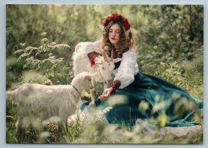 PRETTY WOMAN feed Goats Russian Ethnic Folk Dress Nature New Postcard