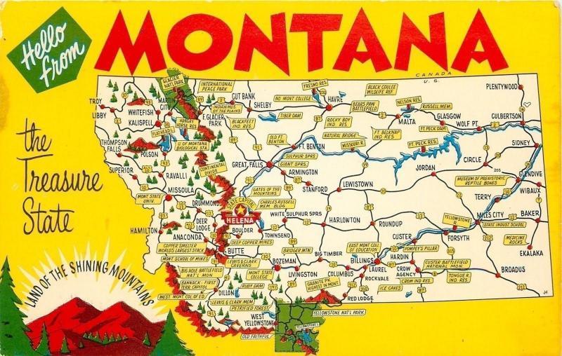 Montana~State Highway Map Postcard~Mountains~Rivers~1950s Postcard ...