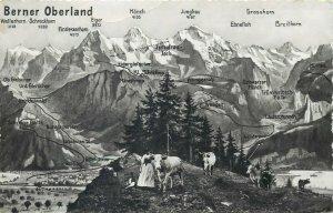 Switzerland Berner Oberland cows mountain peaks Alps alpine scenery