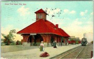 FLINT, Michigan Postcard Grand Trunk Depot Railroad Station Train 1910 Cancel