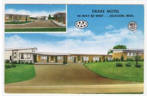 Drake Motel US 80 Highway Jackson Mississippi Roadside America postcard