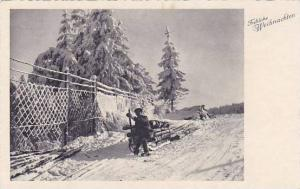 RP; Man with sled full of logs , Frohliche Weihnachten , 20-30s