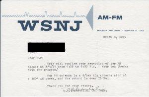 QSL letter, WSNJ-FM, Bridgeton, New Jersey, 1967