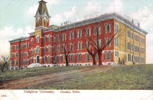 Omaha Nebraska~Creighton University~Old Main~Dirt Road Up Hill~1908 Postcard