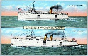 1940s Mackinaw City / St Ignace MI Postcard MICHIGAN STATE AUTO FERRIES Linen