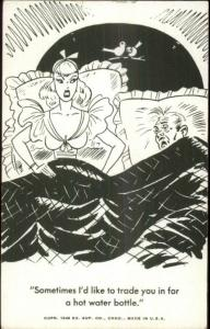 Sexy Woman in Bed Unsatisfied Sexually w/ Tired Husband Comic Exhibit Card