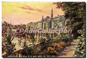 Old Postcard Menton The City And The Quai Between The Palms