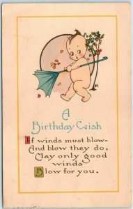 Vintage BIRTHDAY Greetings Postcard KEWPIE Artist-Signed A- 1916 Cancel