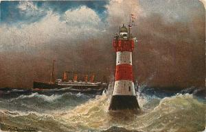 Rote Sand- Leuchtturm (Lighthouse) Germany Postcard