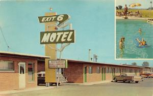 Fremont Ohio~Exit 6 Motel~People @ Swimming Pool~Girl on Diving Board~50s Cars