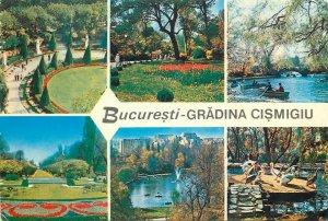 Romania Bucuresti gradina cismigiu parc barca lac flori pod multi view Postcard