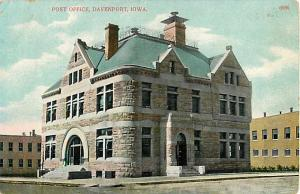 Post Office Davenport Iowa IA Divided Back
