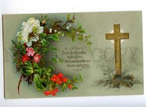 178317 GRAVE DEATH cross flowers vintage postcard