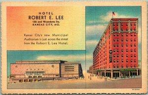 1940s Kansas City, MO Postcard HOTEL ROBERT E. LEE Street View Curteich Linen