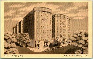 Washington, DC Postcard THE MAYFLOWER HOTEL Artist's Street View c1940s Hilton
