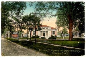 CT - Ellington. Hall Memorial Library & Ellington Street
