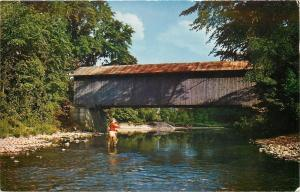 Cavendish Vermont~Man Trout Fishing Near Old Covered Bridge~Trout River~1962